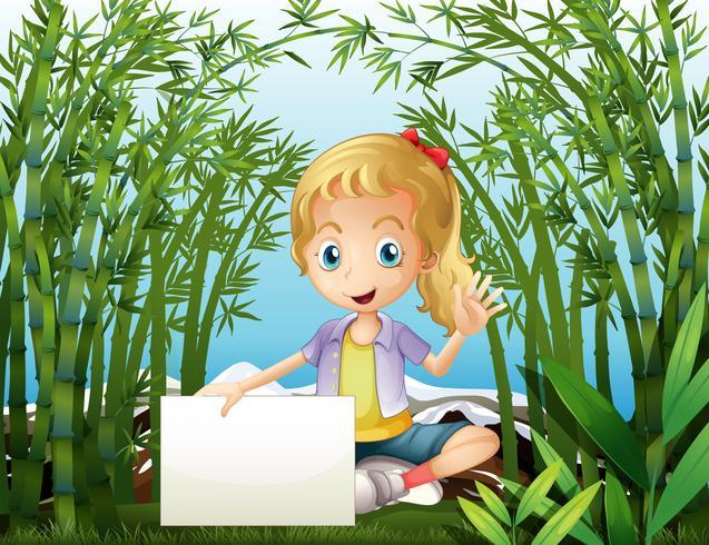 Una selva tropical con una niña sosteniendo una señalización vacía.