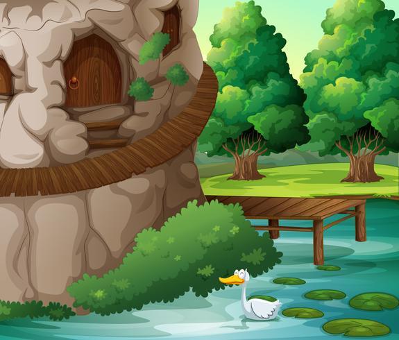 Een prachtig landschap met een eend