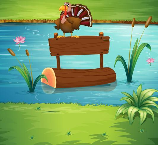 Um peru acima de um tronco flutuante no rio