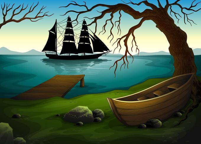 Ein schwarzes Schiff auf dem Meer über dem Boot unter dem Baum