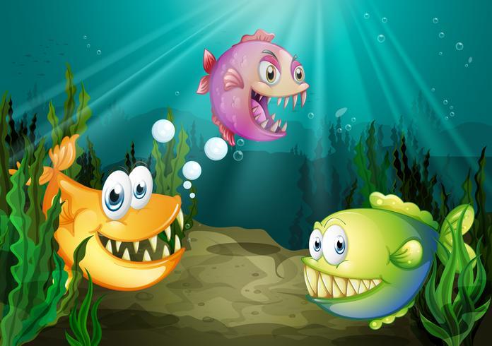 Tres diferentes tipos de peces con grandes colmillos bajo el mar