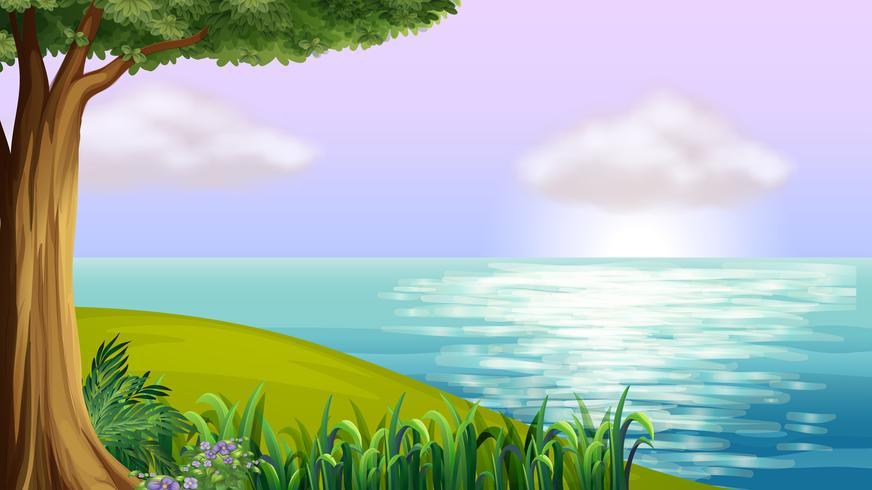 Um mar azul claro