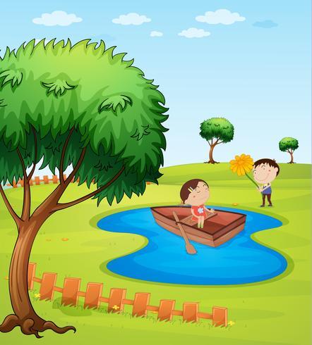 Bambini e una barca di legno