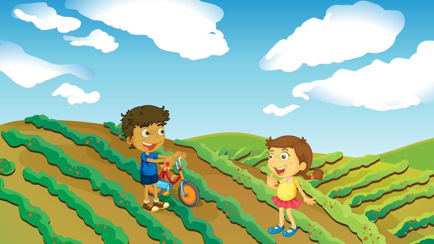 Niños jugando en la granja.