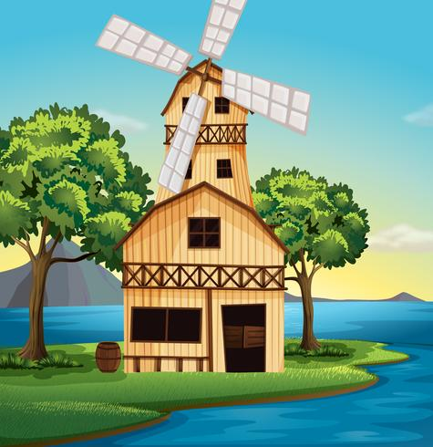 A farmhouse with a windmill - Download Free Vector Art, Stock