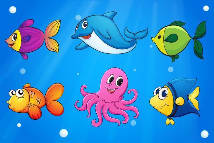 Criaturas del mar bajo el mar