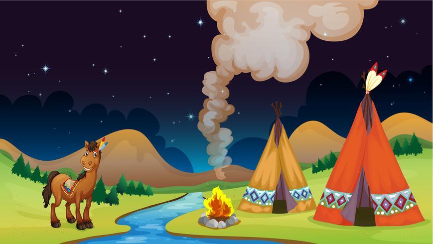Campamento de noche