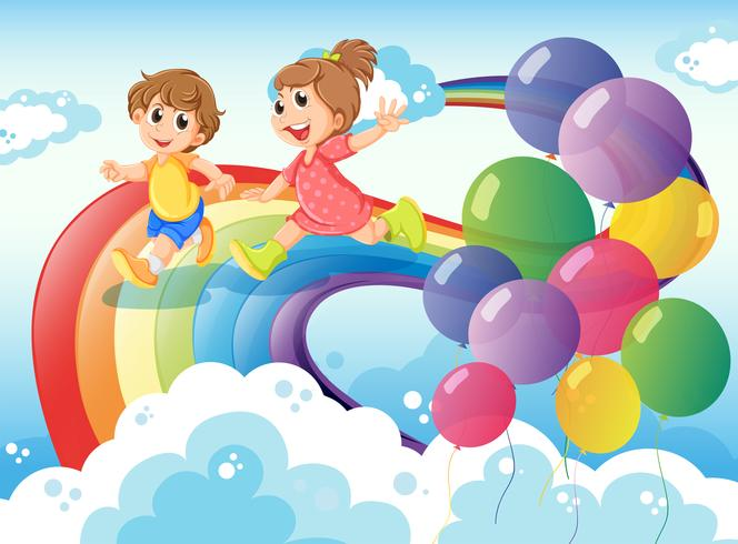 Kids playing with the rainbow in the sky vector