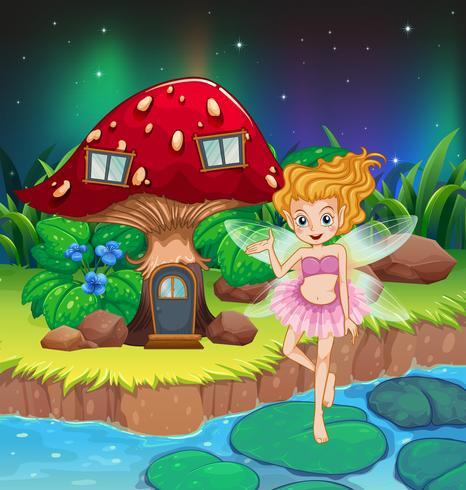 Una fata che vola accanto a una casa dei funghi