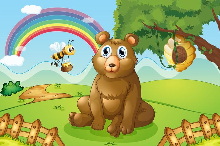 Um urso e uma abelha perto de uma colméia