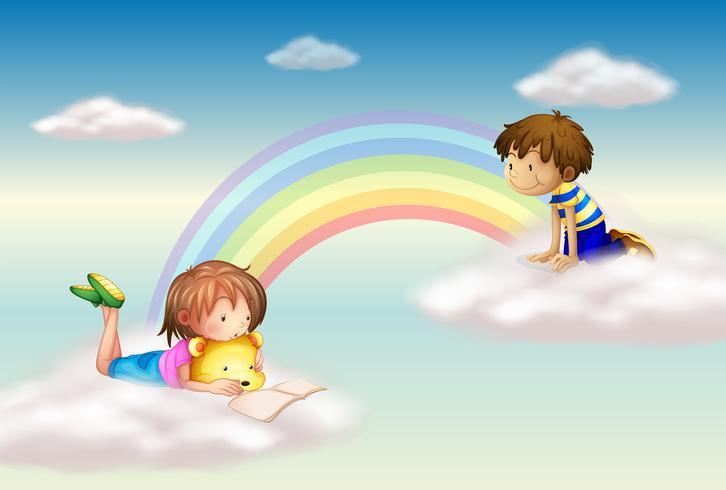 En regnbåge med barn