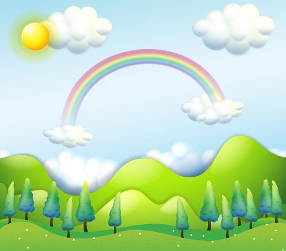 Een kleurrijke lucht boven de groene heuvels