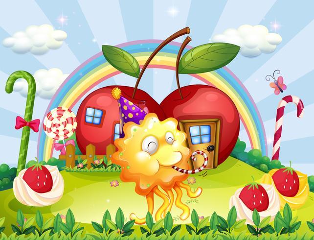 Casas de manzana en la cima de la colina en la parte posterior del monstruo juguetón