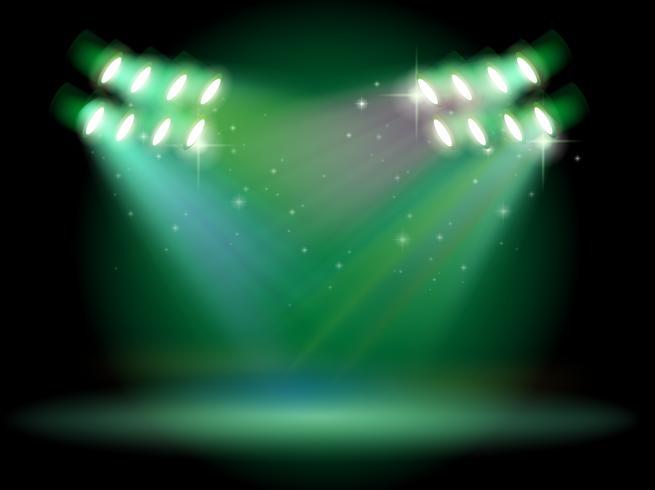 Eine Bühne mit Scheinwerfern