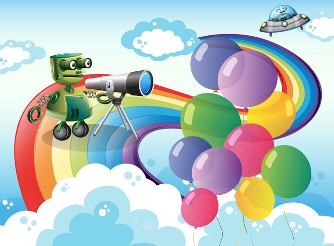 Robots en el cielo con un arcoiris y globos.