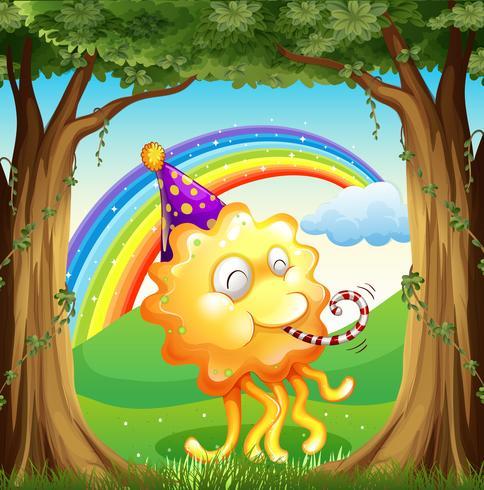 Um monstro feliz na floresta