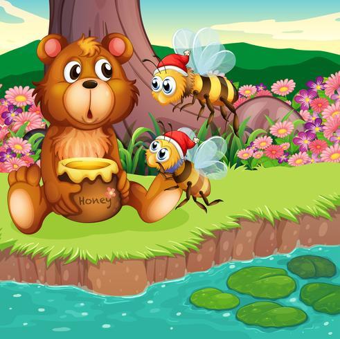 Um grande urso e abelhas na margem do rio