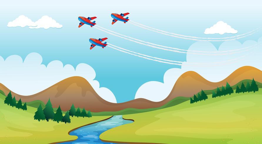 Flyga flygplan och ett vackert landskap