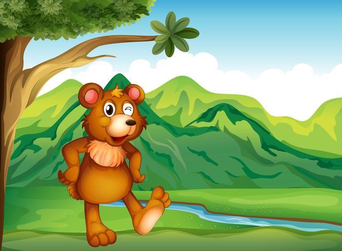 Um animal brincando perto da montanha
