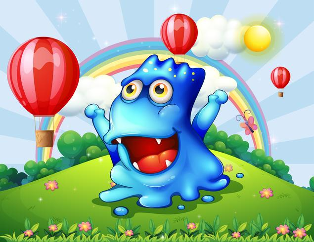 A happy blue monster at the hilltop with the floating balloons