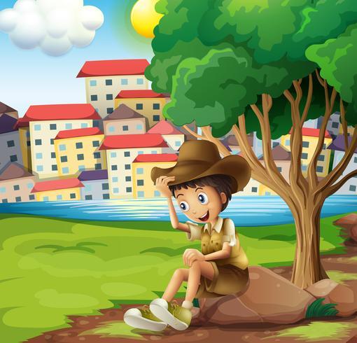 Um, jovem, explorador, sentando, acima, a, rocha, através, a, alto, edifícios