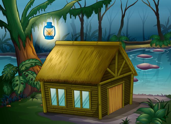 Una casa de bambú en la jungla.