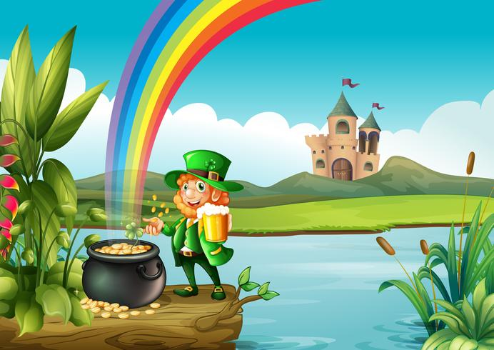 A man and a pot of gold above the trunk across the castle vector