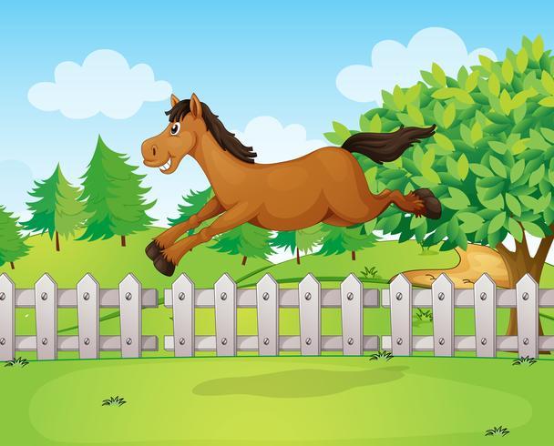 Un cavallo che salta oltre il recinto