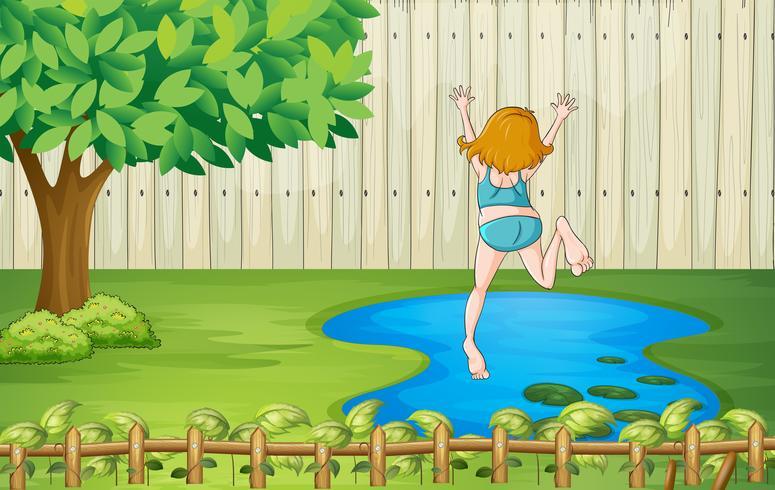 Une fille qui plonge dans l'eau