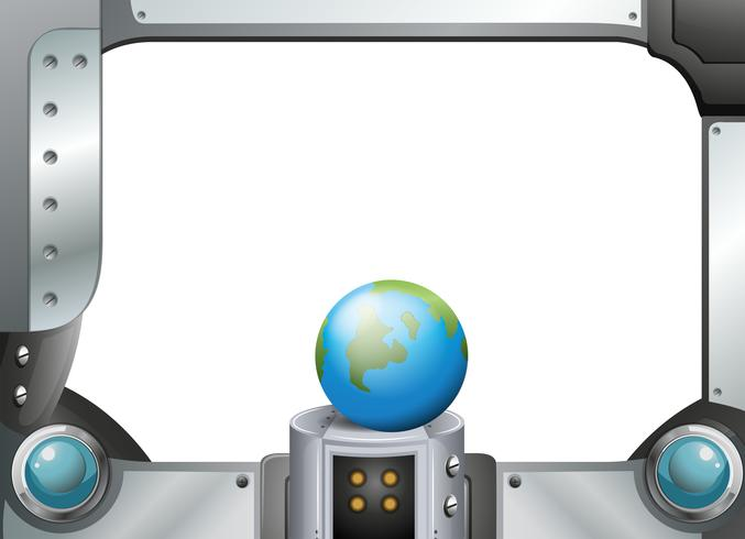 Een wereldbol in een metalen frame