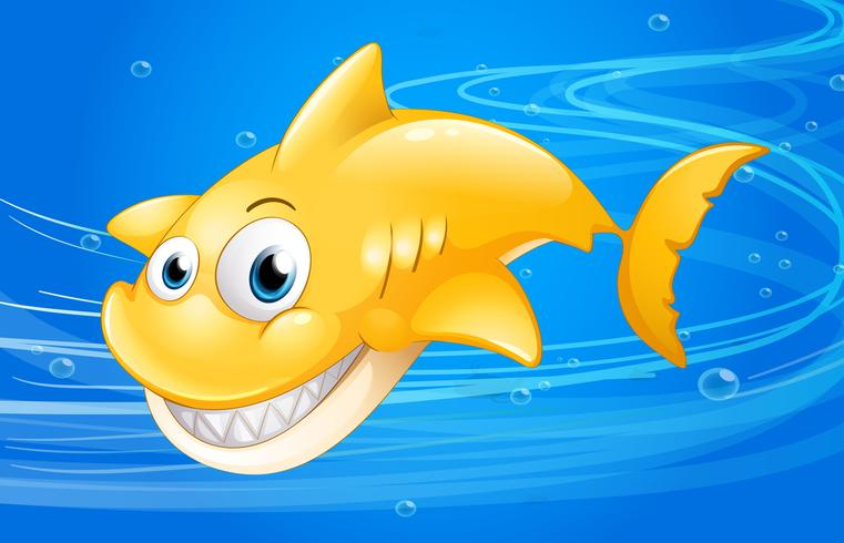 A yellow shark under the water