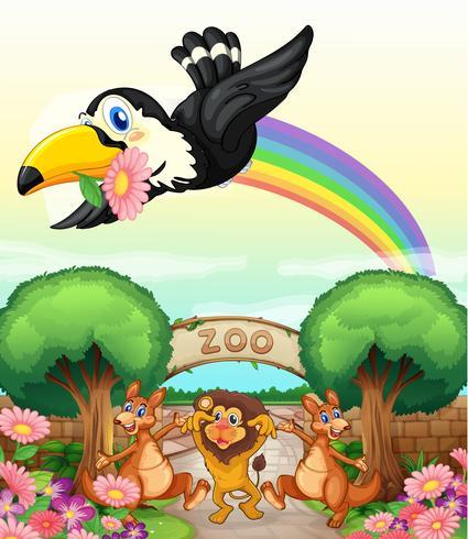 un zoologico y los animales