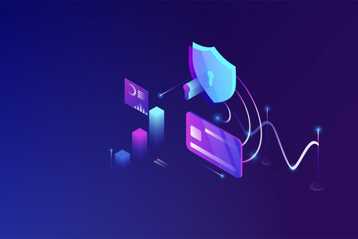 Online security technology, personal data protection  and secure banking modern isometric design concept vector