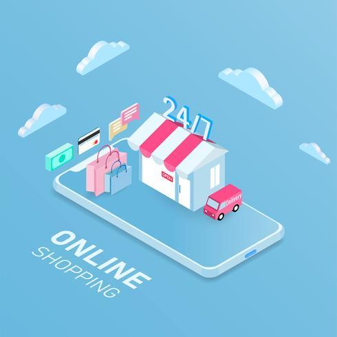 Magasinage en ligne concept mobile, design isométrique. illustration vectorielle