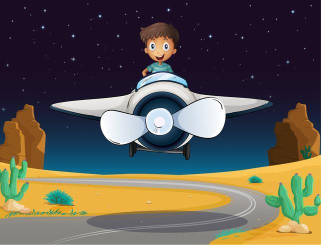 un niño y un avión