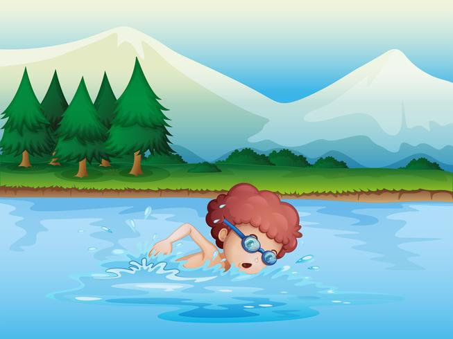 Un piccolo ragazzo che nuota