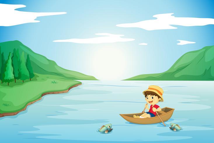 ein Junge, der in einem Boot rudert