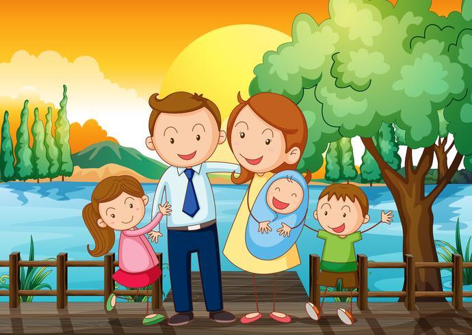 Una famiglia felice al ponte di legno