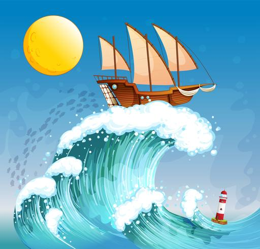 Un barco sobre las olas gigantes.