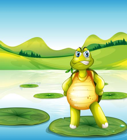 A turtle at the pond standing above a waterlily