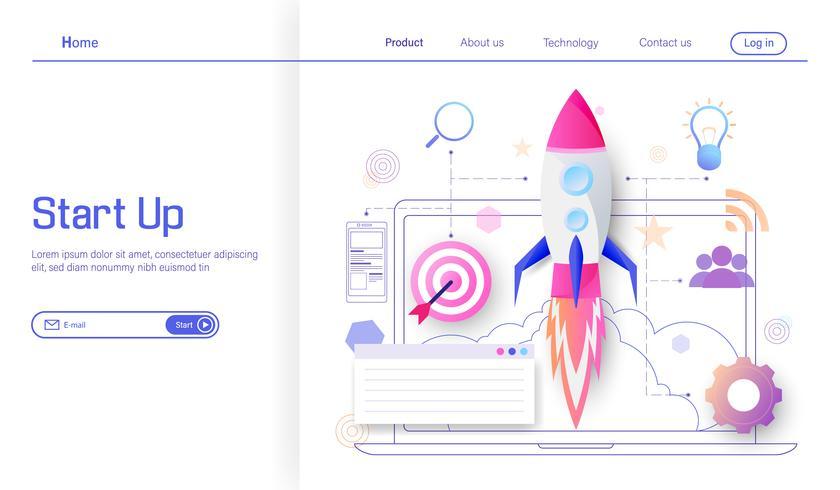 Lançamento de foguete ao alvo para o conceito de design plano moderno de negócios de sucesso e renda, processo de inicialização de projeto de negócios, idéia através do vetor de planejamento e estratégia