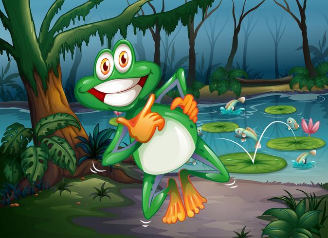 Uma floresta com um sapo brincalhão e peixes na lagoa