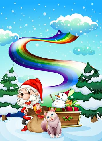 Santa and his cat in a snowy area with a rainbow