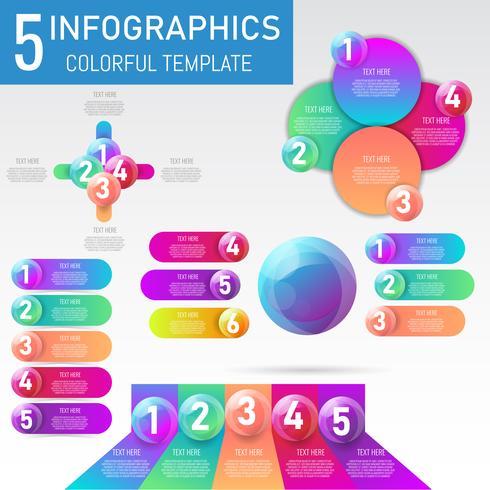 Insieme degli elementi di infografica dati 3D palla, presentazione, progettazione del processo aziendale, illustrazione vettoriale.