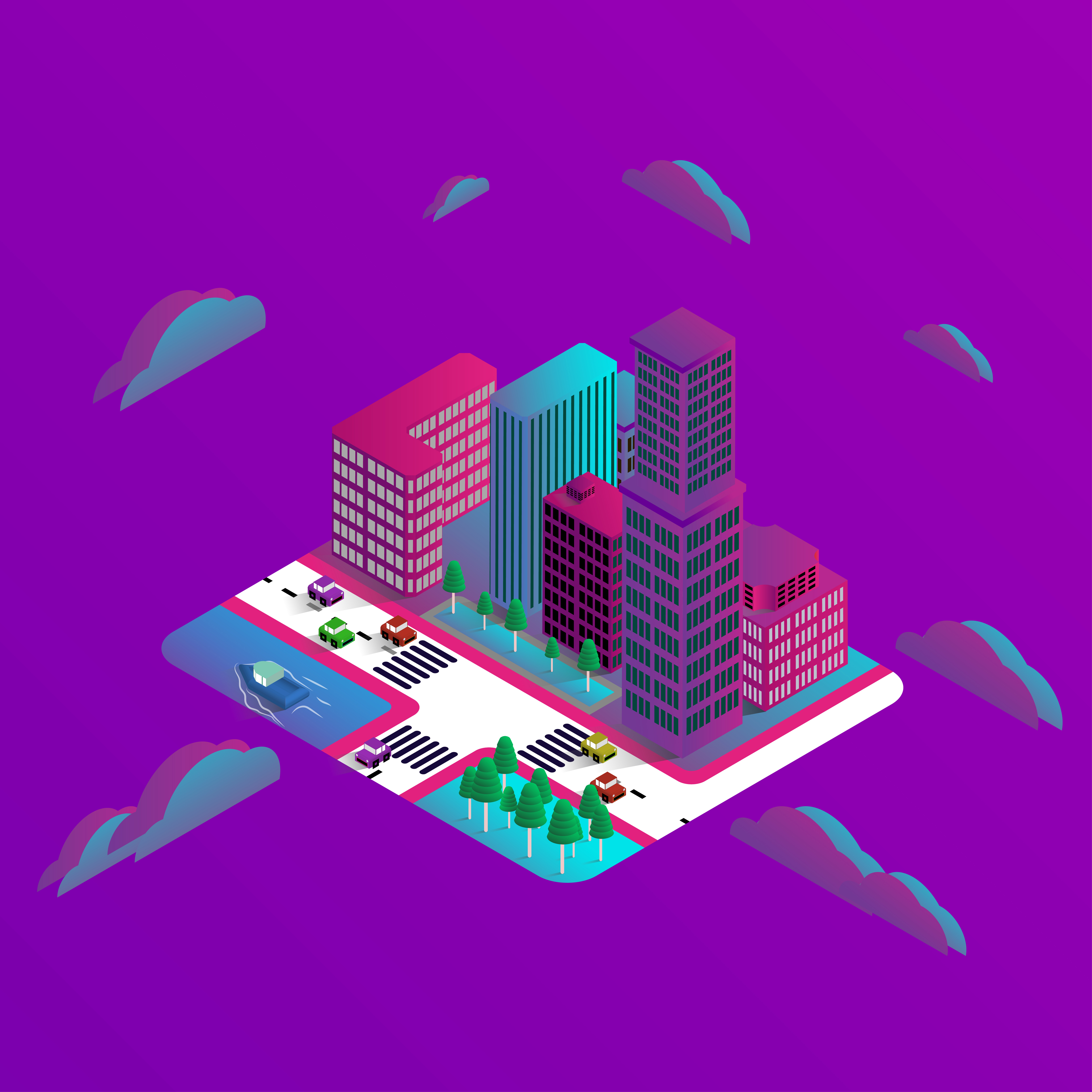 Isometric modern buildings 3d design download free for Home design 3d professional italiano gratis