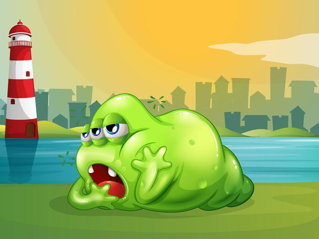 A fat green monster across the lighthouse vector