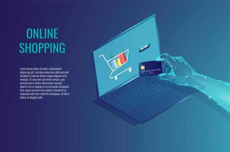 Online shopping on computer abstract concept. vector