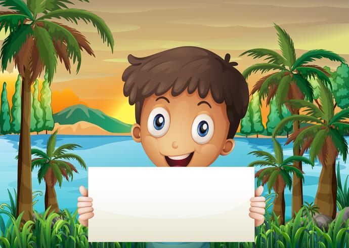 Um, menino jovem, em, a, riverbank, segurando, um, vazio, signboard
