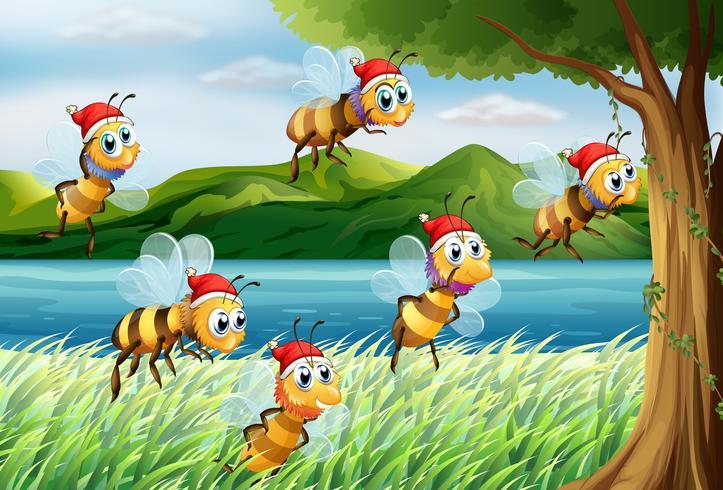 Een groep bijen die naar de boom bij de rivieroever gaat