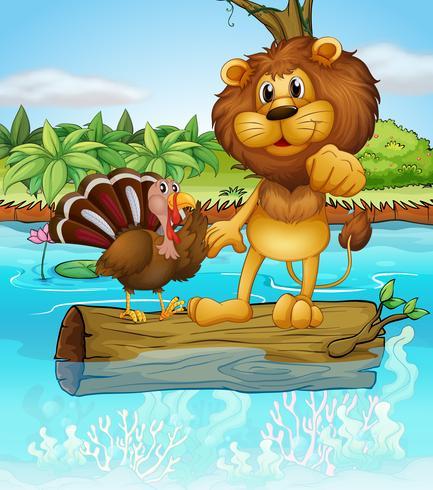 Un leone e un tacchino sopra un tronco galleggiante